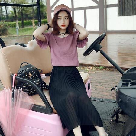 JEANE-SUNP2016夏新款时尚横条纹侧开叉修身显瘦中长款女短袖连衣裙