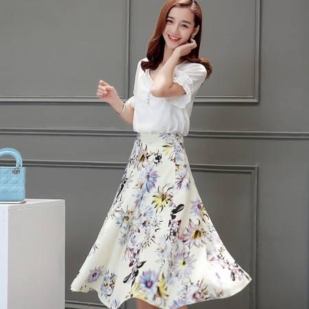 JEANE-SUNP2016夏季新款棉麻连衣裙女中长款两件套修身显瘦短袖印花套装长裙