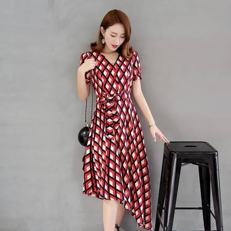 JEANE-SUNP2016年新款稻草朵夏季长裙短袖新款通勤女装单件A字裙韩版连衣裙