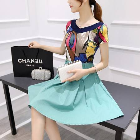 JEANE-SUNP2016年夏季圆领短袖V领修身韩版显瘦纯色半身裙两件套