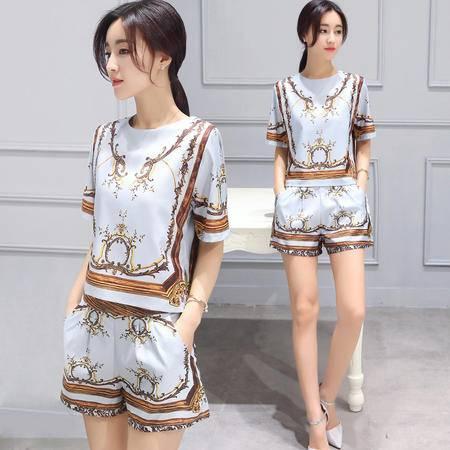 JEANE-SUNP2016新品上市女士夏季韩版圆领短袖韩版印花修身两件套潮