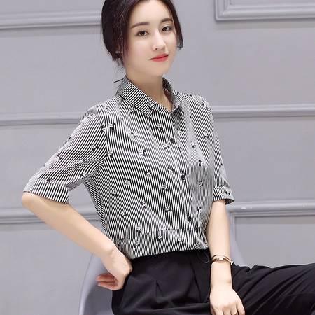 JEANE-SUNP2016年夏女装韩版潮女士条纹衬衫衬衣POLO领单排多扣短袖直筒拼接