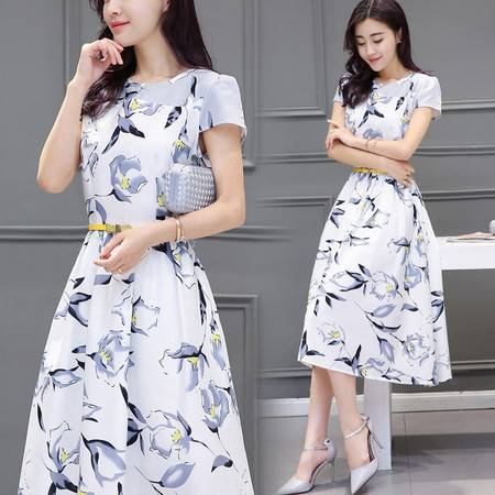 JEANE-SUNP2016新款夏季印花中长裙圆领短袖连衣裙打底修身A字裙女
