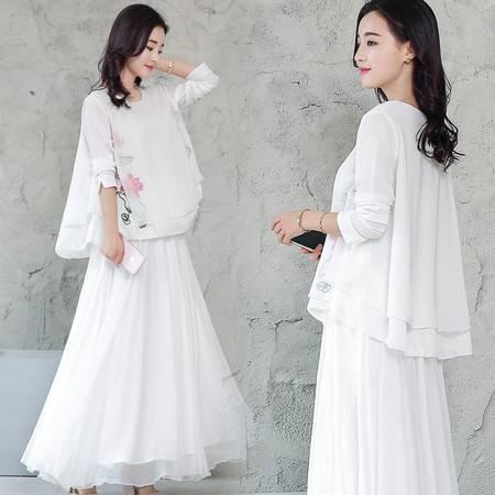 JEANE-SUNP2016夏季两件套新款长裙女装圆领专柜中腰A字裙通勤套头棉麻连衣裙