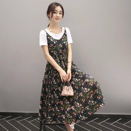JEANE-SUNP2016夏季长裙通勤新款女装印花长裙圆领中腰大摆型韩版连衣裙