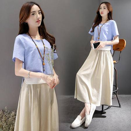 JEANE-SUNP2016夏季新款韩版时尚百搭圆领短袖纯色T恤抽褶半身裙两件套连衣裙