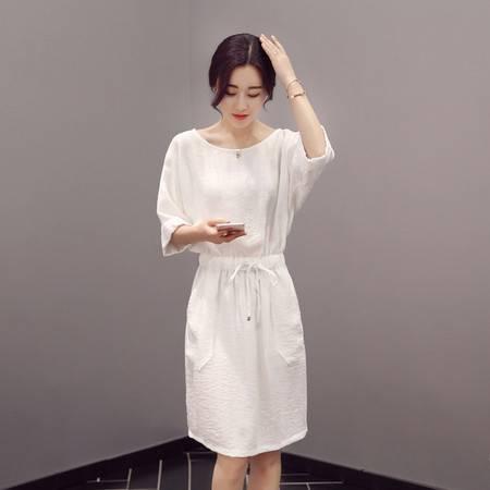 JEANE-SUNP夏季棉麻连衣裙韩版修身显瘦裙子白色气质a字裙短袖宽松收腰中裙