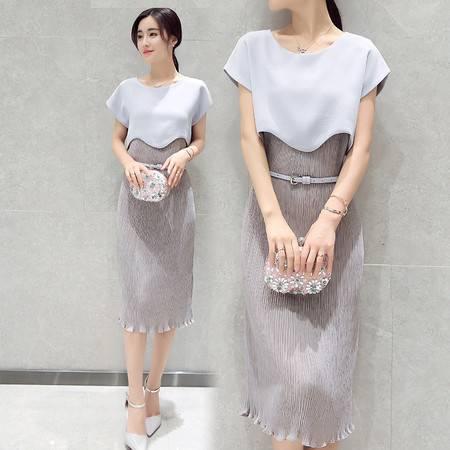 JEANE-SUNP2016新款女装夏装韩版修身高腰中长款连衣裙女短袖方领收腰裙