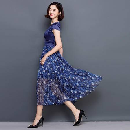 JEANE-SUNP2016夏季新款韩版女装印花圆领短袖收腰蚕丝时尚连衣裙