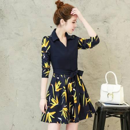 JEANE-SUNP2016年秋季新款长袖印花V领短裙拼接简约时尚连衣裙