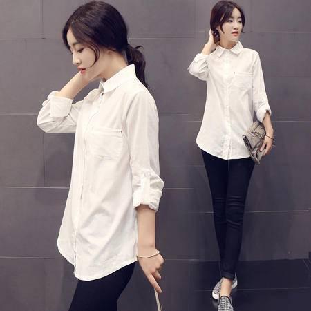 JEANE-SUNP2016夏季新款韩范白色短袖衬衣修身百搭职业女装大码学生衬衫上衣