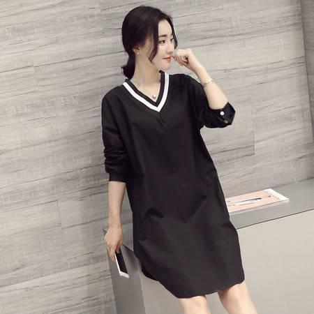 JEANE-SUNP2016春装新款纯色休闲宽松简约时尚长袖V领衬衫黑白撞色连衣裙潮