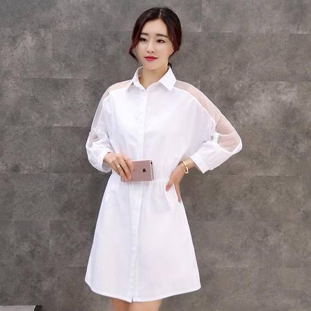 JEANE-SUNP2016秋装新款韩版中长款蕾丝衬衣宽松七分长袖打底衫纯色连衣裙女