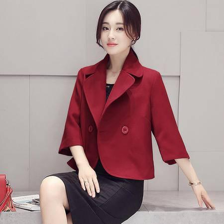 mssefn新款2016气质时尚翻领两粒扣显瘦纯色秋季外套