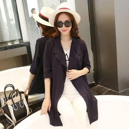 JEANE-SUNP2016时尚秋季女装翻领中袖宽松纯色简约中长款外套