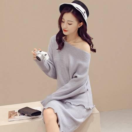 JEANE-SUNP2016秋季时尚简约纯色圆领长袖显瘦两件套波浪边针织裙套装