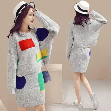 JEANE-SUNP2016秋季韩版时尚百搭时尚款圆领长袖撞色拼接包臀裙两件套