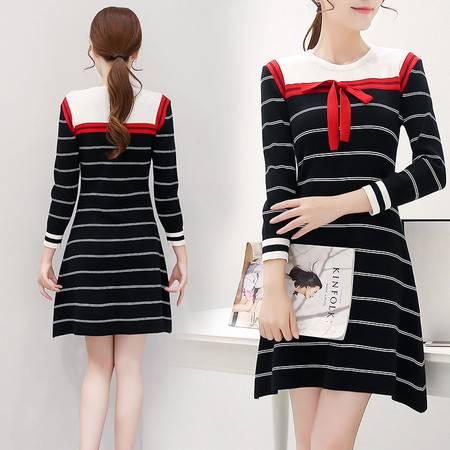 JEANE-SUNP016年秋季新款长袖圆领套头条纹显瘦气质连衣裙