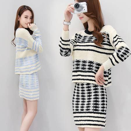 JEANE-SUNP2016年秋季套装中腰套头中长款长袖套裙两件套包臀裙