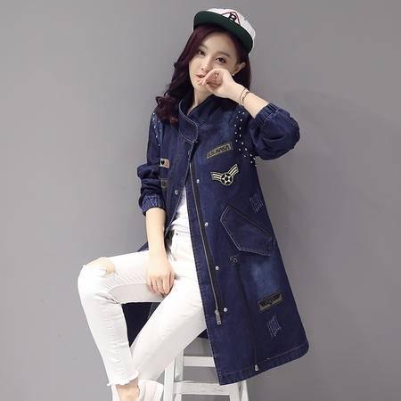 JEANE-SUNP2016年秋季拉链中长款长袖修身牛仔韩版风衣