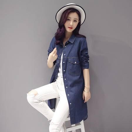 JEANE-SUNP2016年秋季纯色长袖牛仔衬衫韩版中长款外套