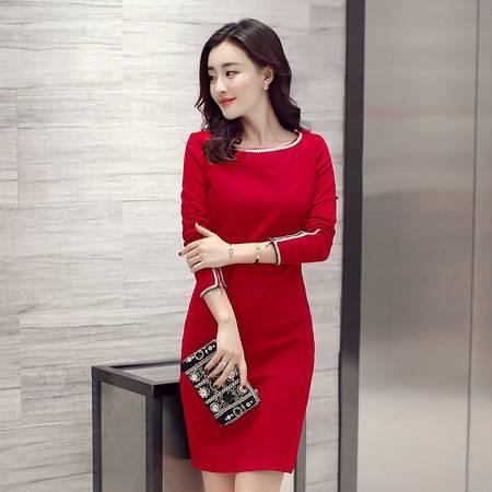 JEANE-SUNP2016年秋季潮流高腰纯色H型拼接立体装饰3D中裙长袖连衣裙