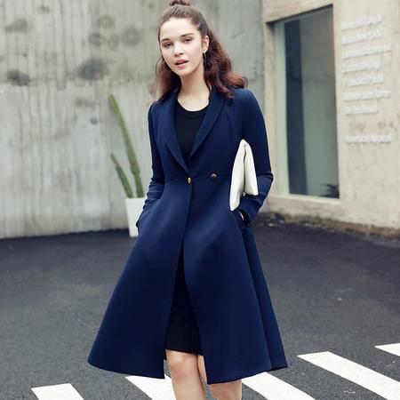 JEANE-SUNP2016年秋季时尚长袖中长款修身单排扣POLO领纯色风衣