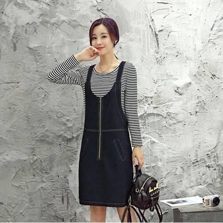 JEANE-SUNP2016年秋季时尚韩版纯色条纹长袖圆领套装牛仔套裙