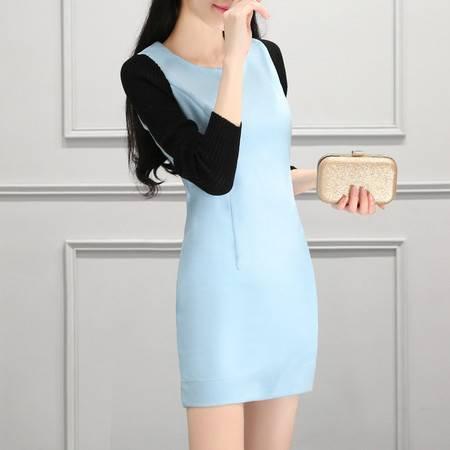 JEANE-SUNP2016年秋装新款女装时尚简约休闲气质修身收腰显瘦拼接打底连衣裙