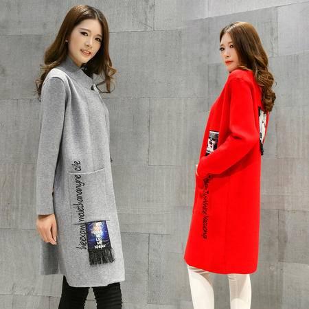 JEANE-SUNP2016年秋季时尚韩版气质立领长袖流苏装饰气质外套