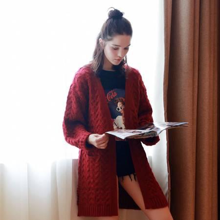 JEANE-SUNP2016年秋季气质针织衫长袖中长款纯色酒红色显瘦开衫