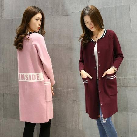 JEANE-SUNP2016秋季时尚立领长袖中长款单排扣显瘦针织外套开衫