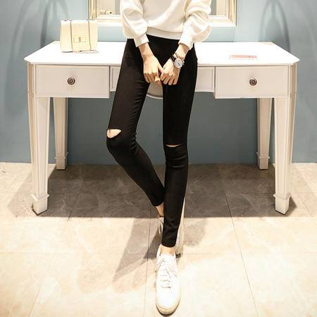 JEANE-SUNP2016年秋季时尚修身百搭纯色长款打底裤子