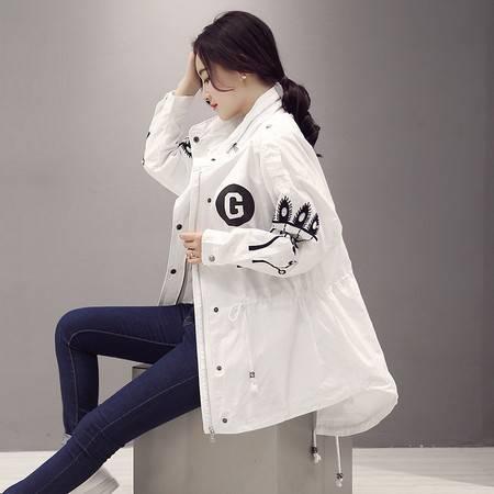 JEANE-SUNP2016年春季欧美风立领拉链长袖中长款收腰个性风衣白色印花外套女