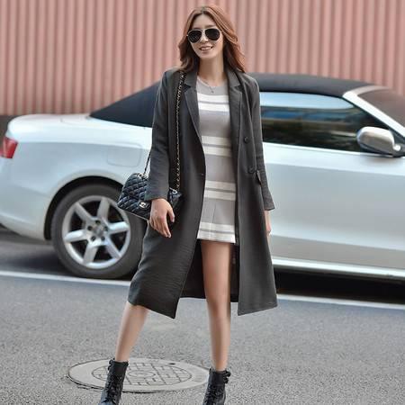 JEANE-SUNP长款蝙蝠型外套长袖新款常规中长款韩版女装宽松女式大码风衣
