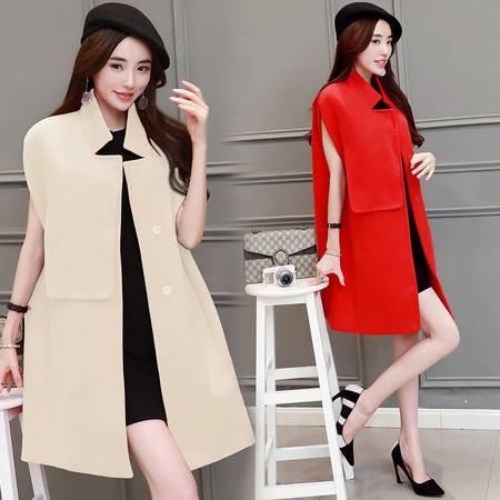 JEANE-SUNP2016秋季中长款斗篷型韩版立领单排扣新款纯色大衣无袖女毛呢外套