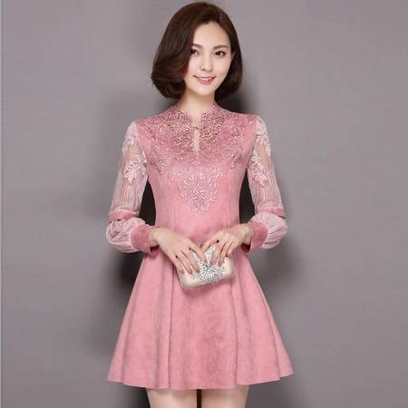 JEANE-SUNP2016年秋季灯笼袖套头立领中腰甜美花色连衣裙简约蕾丝长袖