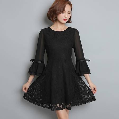 JEANE-SUNP2016年秋季中裙A型套头中腰纯色圆领连衣裙