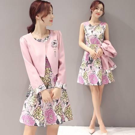 JEANE-SUNP 2016年秋季时尚潮流气质简约韩版无袖外套套装/套裙