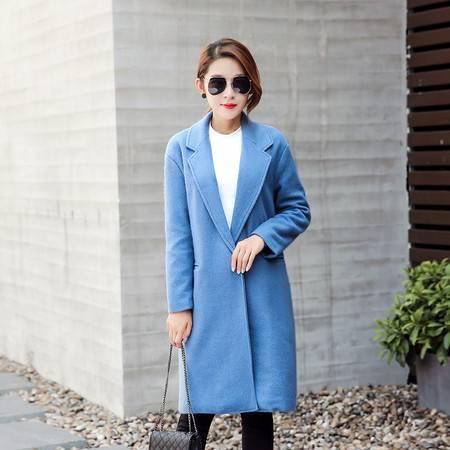 JEANE-SUNP 秋冬装新款时尚大翻领绒大衣女中长款西装领呢子毛呢外套宽松外衣
