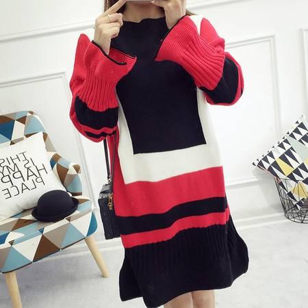 JEANE-SUNP 2016年秋季长袖中长款圆领荷叶袖直筒针织衫时尚修身甜美气质毛衣