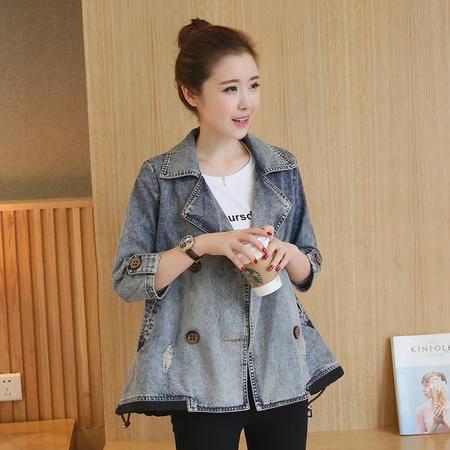 JEANE-SUNP 2016年秋季新款韩版宽松显瘦单排扣九分袖女棉质水洗牛仔外套上衣