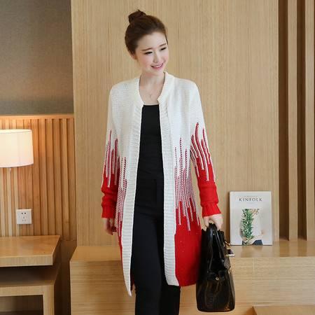 JEANE-SUNP 2016秋季韩版新款圆领长袖修身显瘦时尚气质中长款针织开衫毛衣女