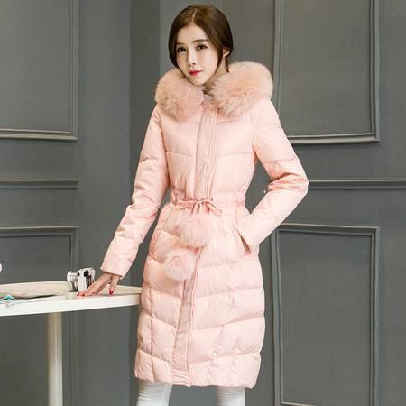 JEANE-SUNP 2016年冬款修身中长款长袖纯色时尚宽松拉链羽绒服