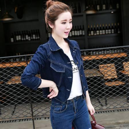 JEANE-SUNP 2016秋装新款修身显瘦韩版长袖纯色口袋时尚小清新牛仔外套
