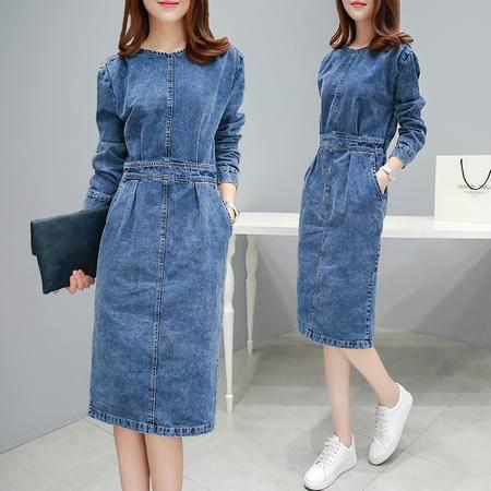 JEANE-SUNP 2016秋季新款韩版中长裙时尚显瘦气质棉长袖直筒开叉牛仔连衣裙潮