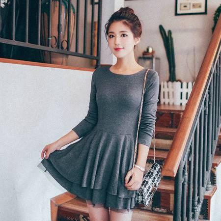 JEANE-SUNP 2016年秋季新款韩版青春时尚流行长袖圆领短裙潮女连衣裙