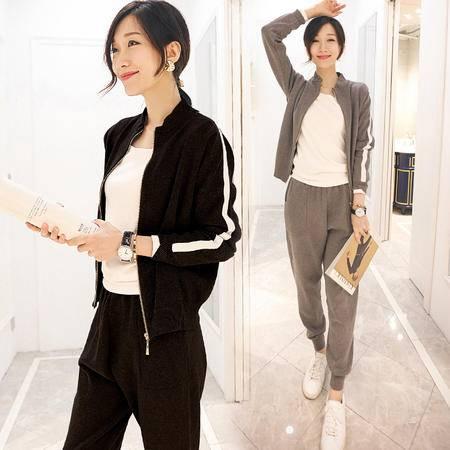 JEANE-SUNP 2016秋装新款韩版长袖休闲套装简约两件套女装秋季九分裤运动套装