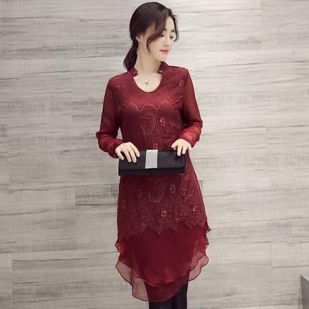 JEANE-SUNP  2016秋装新品高贵大方蕾丝拼接中长款V领连衣裙荷叶边宽松版女装