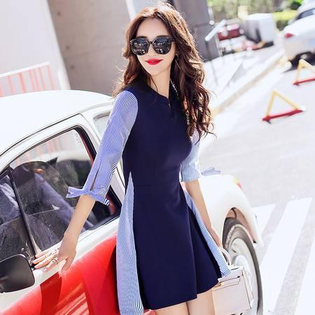 JEANE-SUNP 秋装新款女装拼接假两件套连衣裙A字裙气质小清新长袖条纹女